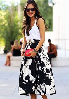Black Floral Print A Type High Waist Skirt