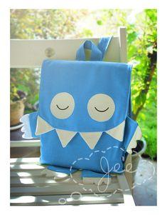 Mochilas - Cotton Canvas Kids Monster Flat Backpack Ipad Bag - hecho a mano por JEEoliver en DaWanda