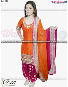 Mesmeric Orange And Magenta Mirror Worked Punjabi Suit: Give yourself a stylish & designer look with this Mesmeric Orange And Magenta Mirror Worked Punjabi Sui. Embellished with Embroidery work and lace work. Available with matching bottom & dupatta. It will make you noticable in special gathering. You can design this suit in any color combination or on any fabric.   For more details whatsapp us on +919915178418