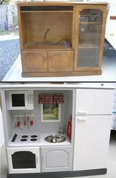 Old entertainment center repurposed into a play kitchen.