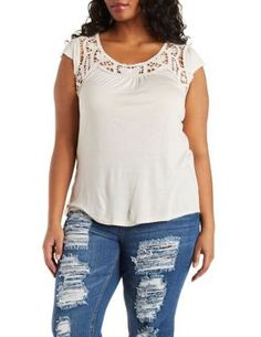 cf3b442473f Plus Size Crochet Yoke Top. Lilia Castillo · Charlotte Russe wants
