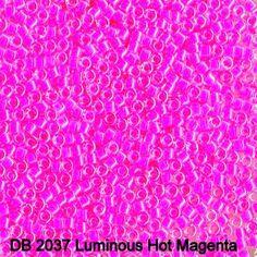 Glass Seed Beads 10/0 Delica Miyuki - 7 grams Luminous Hot Magenta DBM 2037 by buttonsandshanks on Etsy