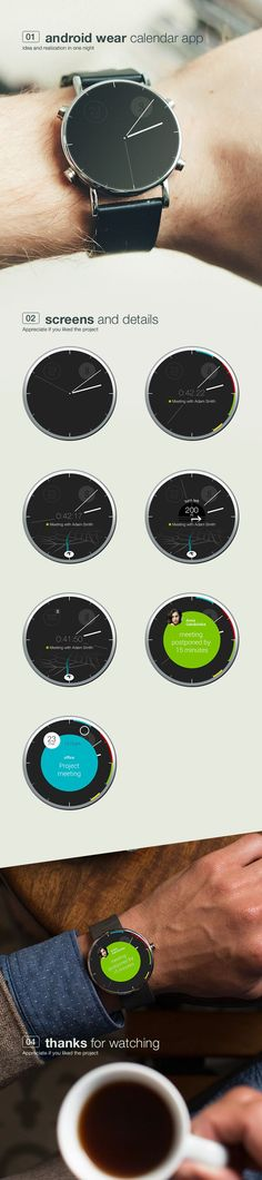 https://www.behance.net/gallery/calendar-clock-android-wear-concept-app/15662143 Buy Smart watches at fashion cornerstone. Follow us, Repin and check out our store.