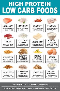 No carb diets 341710690479244833 - *NEW* This high protein low carb food guide is meant to be a curated resource to support you, and help you make every meal a celebration that tastes good and is good for you! Source by thelittlepine Low Carb High Protein, Low Carb Protein Powder, High Protein Foods List, Food With Most Protein, Foods High In Carbs, High Protien Foods, Foods That Have Protein, High Carb Meals, High Protein Snacks On The Go