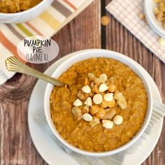Pumpkin Pie Oatmeal! A healthy and delicious breakfast for fall! Topped with whipped cream or white chocolate chips and pecans, YUM! Pumpkin Week on The Cookie Rookie!