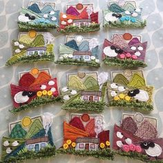 This morning I'm finishing off a batch mini landscapes for Dingle. ☘️💚☘️ As these are all brand new designs I'd be really interested to hear which one you prefer? a) cottage with sheep b) cottage with flowers c). Sheep with sheep Thank you kindly 😊 #textileart #irishdesign #irishlandscape #miniart
