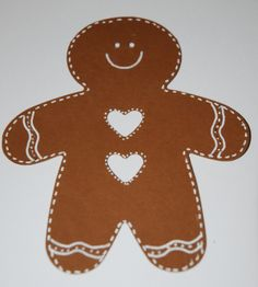 GBM with heart buttons Gingerbread Man Template, Gingerbread Man Crafts, Gingerbread Man Decorations, Gingerbread Christmas Decor, Christmas Decorations To Make, Holiday Crafts, Gingerbread Houses, Christmas Ideas, Slider Cards
