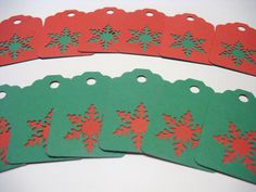 RED GREEN SNOWFLAKE Gift Tags & String Wrap Party Decoration Scrapbooking Embellishments Set of 12 on Etsy, $2.00