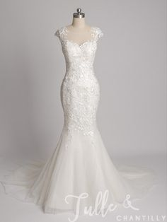 Gorgeous Mermaid Lace Wedding Gown With Illusion Boat Neck TBQWC026 click for 40+ colors
