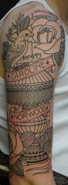 lamp, bird, roses & banner sleeve #arm #tattoos