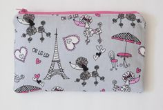 Large Makeup Bag  PARIS POODLES Gray and Pink by BlueBelugaDesigns