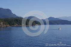 Sailing through the Howe Sound of the Pacific Ocean near Vancouver, British Columbia, Canada