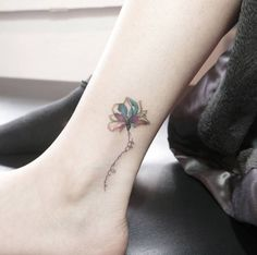 Floral ankle tat by Chaehwa
