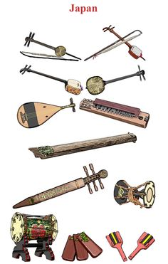 JAPÓN I. Left/ Right, Up/Down. 1.- Kucho: chordophone / bowed string instrument. 2.- Kokyu: chordophone / bowed string instrument. 3.- Shamisen: chordophone / lute family (It is by attaching a cat skin on body). 4.- Sanshin: chordophone / lute family. 5.- Gaku Biwa:chordophone / lute family.. 6.- Taisho goto: chordophone / zither family. 7.-Wagon: chordophone / zither family. 8.- Tonkori: chordophone / zither family. 9.- Kotsuzumi: membranophone / drum. 10.- Kakko: membranophone / drum…