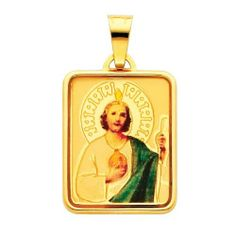 14K Yellow Gold Religious Saint Jude Enamel Picture Charm Pendant The World Jewelry Center. $132.00. High Polished Finish. Simply Elegant. Promptly Packaged with Free Gift Box and Gift Bag