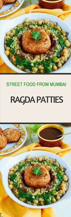 Ragda Patties – Street Food from Mumbai Ragda Patties is one of my favourite street food, typically belonging to MUmbai Potato patties are topped with dried white peas gravy, two chutneys, onions Veggie Snacks, Vegetarian Snacks, Savory Snacks, Veg Recipes, Indian Food Recipes, Cooking Recipes, Recipies, Snacks Recipes, Healthy Recipes