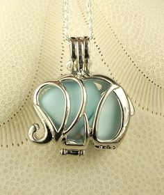 Sea Glass Necklace Elephant Locket Baby Blue