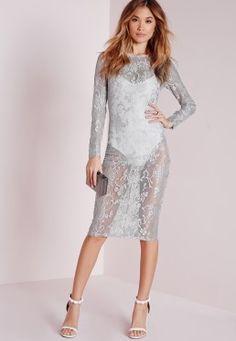 Sheer Lace Midi Dress Grey
