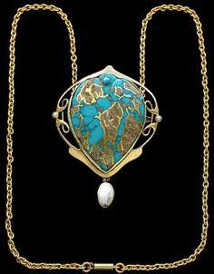 Murrle Bennett & Co., Colgante Art Nouveau Rare / Broche