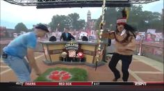 He was also interesting in body slamming Lee Corso, who was dressed up as Florida State's Chief Osceola.