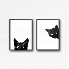 Black Cat Print Set Watercolor Prints Cat Art Illustration Cat Lover... (£9.48) ❤ liked on Polyvore featuring home, home decor, wall art, black white home decor, black home decor, black white wall art, cat home decor and black and white home accessories