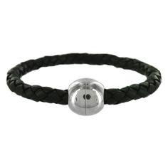 Stainless Steel 6 mm Black Leather Bead Weave Men's Bracelet