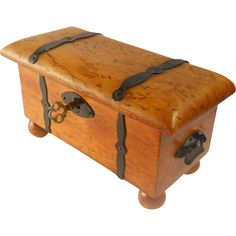 Birdseye Maple Wood Trinket Box Vintage Treasure Chest Rare  offered by Ruby Lane Shop Suzy's Timeless Treasures & Vintage Jewelry