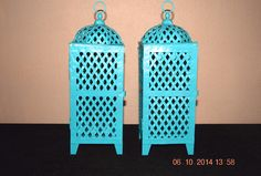 4 Blue Candle Holders