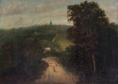 Hampstead from the Kilburn Road.  1824.  Keats and his friend the painter B R Haydon walked in Kilburn Meadows.