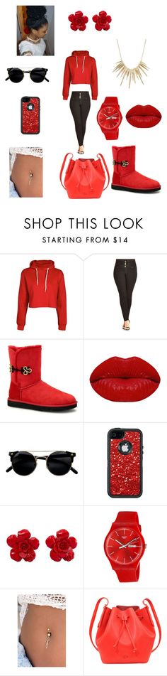 """Red Moment"" by myabae123 on Polyvore featuring City Chic, UGG Australia, Winky Lux, OtterBox, Chanel, Swatch, Lacoste and Alexis Bittar"