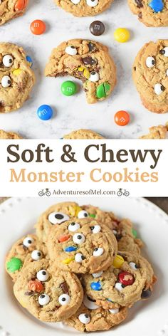 Soft and Chewy Monster Cookies Recipe - Adventures of Mel How to make the best chewy monster cookies. (AD) Easy to make. Decorated with M&M'S candies, chocolate, and candy eyeballs. Fun, festive Halloween cookie for kids! Cookie Recipes For Kids, Halloween Cookie Recipes, Halloween Cookies Decorated, Halloween Baking, Fete Halloween, Cookies For Kids, Halloween Food For Party, Halloween Desserts, Fun Cookies