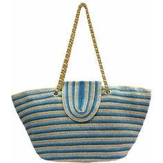 Aqua Blue & Tan Striped Straw Beach Tote Bag ($37) ❤ liked on Polyvore featuring bags, handbags, tote bags, aqua blue, striped beach tote bag, white handbags, straw handbags, straw beach bag and beach tote