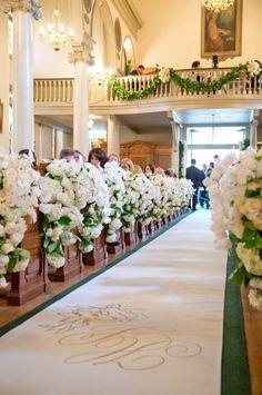 White wedding decor for church wedding ceremony   Wedding Ceremony Ideas: 13 Décor Ideas for a Church Wedding via @Because I'm Happy Weddings