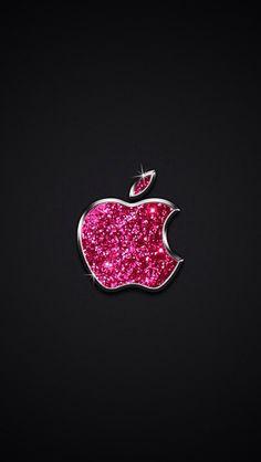 sparkle pink apple logo wallpaper