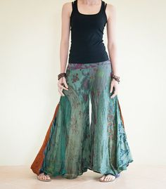 Unique Patchwork Butterfly Wide Leg Women Pants Light Weight Printed Crinkle Cotton (PK-79)