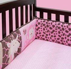 paisley pink and brown crib bedding | Girls Nursery Baby Pink Brown Leopard Jungle Animals 4pc Crib Bedding ...