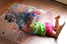 Toddler Big Art: Painting a Rainbow