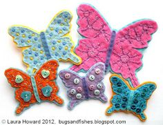 Cute butterfly and other felt tutorials. who knew I'd stoop to felt!