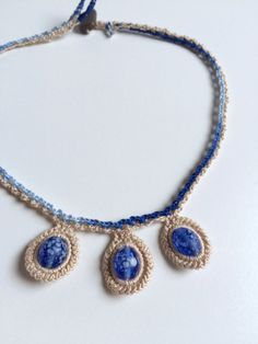 3 blue bead collar crochet necklace by GabyCrochetCrafts on Etsy
