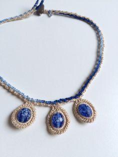 3 blue bead collar crochet necklace by GabyCrochetCrafts on Etsy