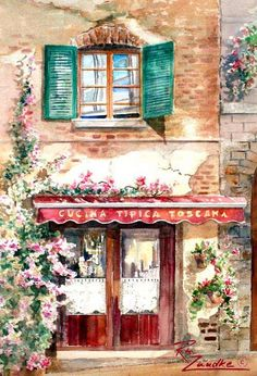 Cucina Toscana - Watercolor of Tuscany, Italy near Florence Rita Zaudke