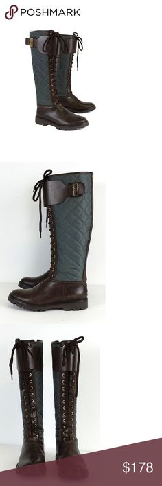 "Tory Burch- Teal & Brown Quilted Lace Up Boots Sz 6.5 Form meets function in these teal & brown quilted lace up boots. Perfect for your next snow adventure. Size 6.5 M Leather & nylon Gold-tone hardware Back zips Shaft circumference 15"" Heel height 1"" Total height 16.5"" Bohemian, preppy, hippy, young, & luxe are all words to describethis designer's style. Tory Burch has a signature style but also keeps up with new trends and creates some of her own. Her use of bright colors and bold patterns…"