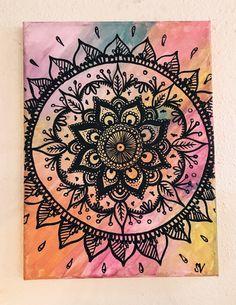 Mandala de arco iris de la lona pintura por MuseArtwork en Etsy