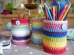 crochet tin can covers - I actually need to do this for my classroom (when I get another one that is)