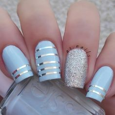 Hi dolls  simple and easy mani for today! I'm in love with this light blue from @essiepolish - borrowed & blue silver is @chinaglazeofficial - silver lining  Striping tape from ebay Happy friday!