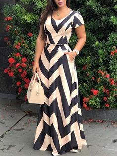 Sum All Chic, Shop Beige Striped Pleated Pockets Bohemian Party Maxi Dress online. African Fashion Dresses, African Dress, Fashion Outfits, Elegant Summer Dresses, Lace Dress With Sleeves, Classy Dress, Modest Dresses, Bohemian Party, Modern