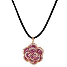 """Rubies and White Sapphires Flower Pendant/Necklace in Rose Gold Plated Sterling Silver with 18"""" Black Silk Cord Netaya. $62.95"""