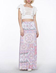 En Creme Skirt Patterned Maxi W/ Crochet Waist Bohemian Skirt, Spring Summer 2018, Cool Kids, Two Piece Skirt Set, Denim, Crochet, Skirts, Pattern, Beautiful