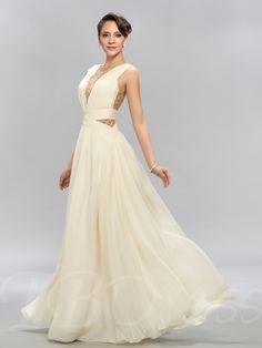 V-Neck Tulle Beadings Prom Dress