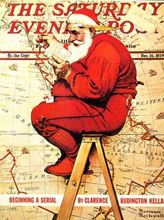 Norman Rockwell Christmas print,   Santa checking his list of good boys and girls, Saturday Evening Post cover Dec. 16,  1939